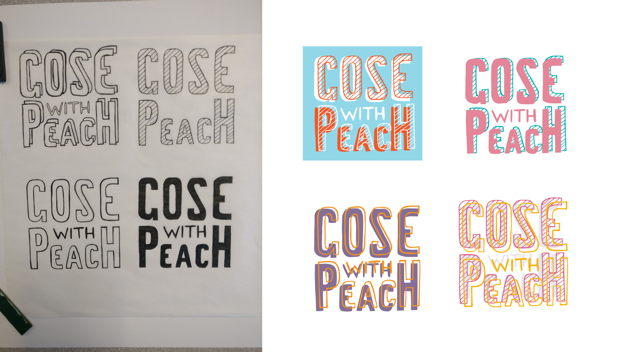 """sketches of """"gose with peach"""" hand lettered"""