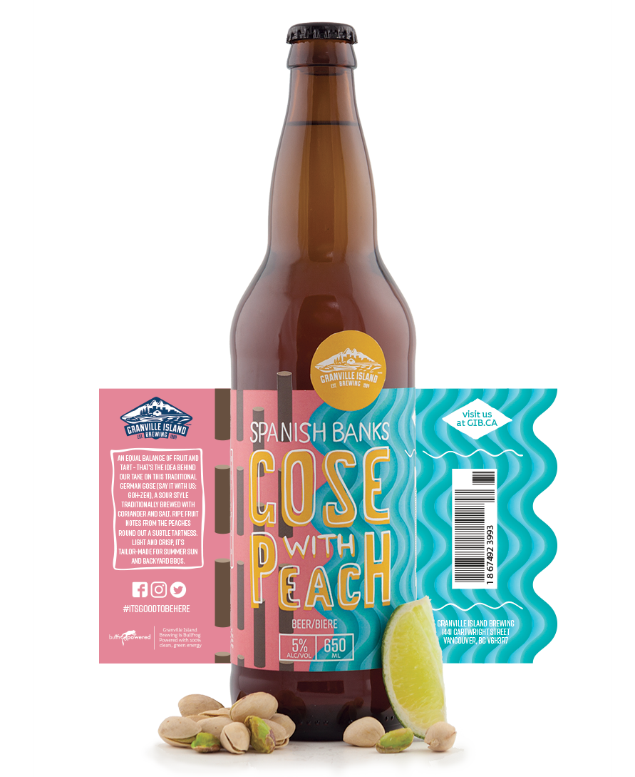 Spanish Banks Gose with Peach beer bottle with full label